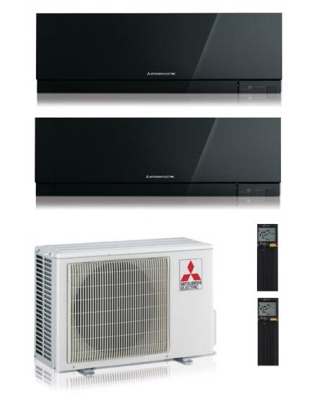 Climatizzatore Condizionatore Dual Split Inverter Mitsubishi Kirigamine Zen Black 9000+9000 btu U.E. 4.2 Kw R-32 Wi-Fi A+++ A++