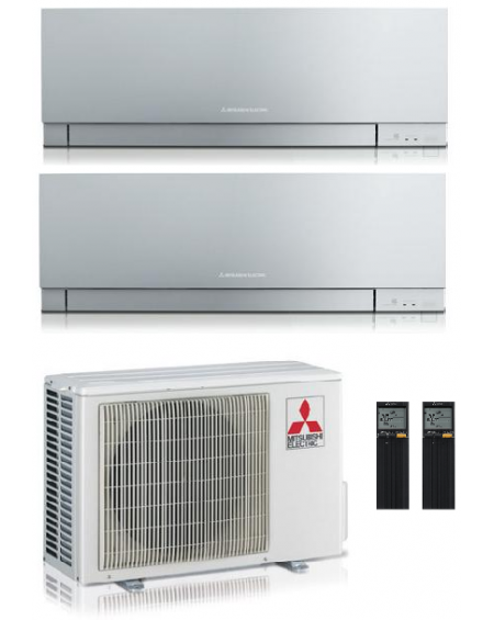 Climatizzatore Condizionatore Dual Split Inverter Mitsubishi Kirigamine Zen Silver 9000+12000 btu U.E. 5.3 Kw R32 Wi-Fi A+++ A++