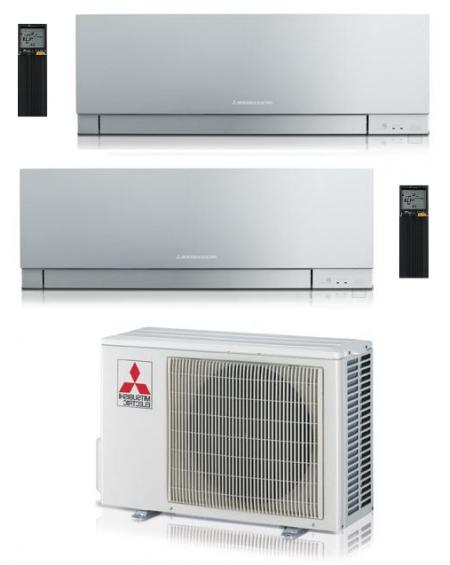 Climatizzatore Condizionatore Dual Split Inverter Mitsubishi Kirigamine Zen Silver 9000+9000 btu U.E. 4.2 Kw R-32 Wi-Fi A+++ A++