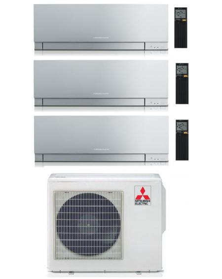 Climatizzatore Condizionatore Trial Split Inverter Mitsubishi Kirigamine Zen Silver 9+9+12 U.E. 5.4 Kw R-32 Wi-Fi A+++ A++