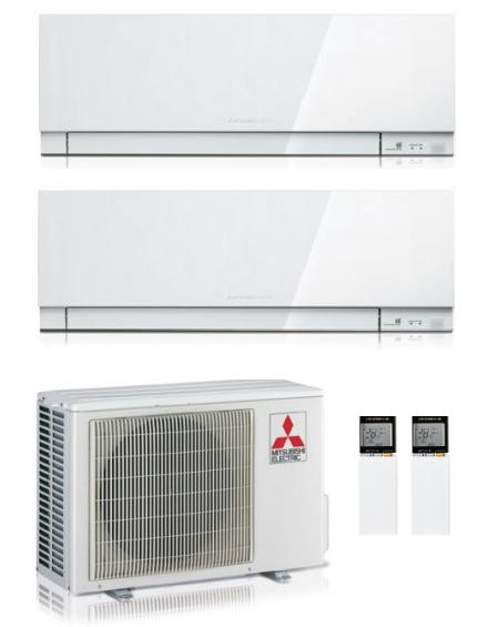 Climatizzatore Condizionatore Dual Split Inverter Mitsubishi Kirigamine Zen White 12000+12000 btu U.E. 5.3 Kw R32 Wi-Fi A+++ A++