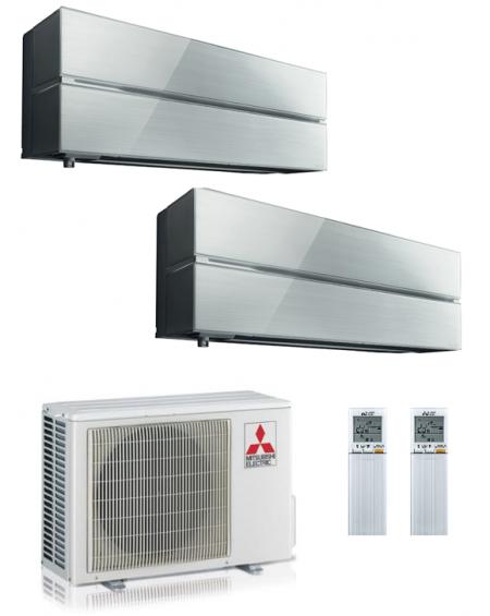Climatizzatore Condizionatore Dual Split Inverter Mitsubishi Kirigamine Style PearlWhite 9000+12000 U.E. 5.3 Kw R32 WiFi A+++A++