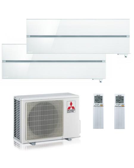 Climatizzatore Condizionatore Dual Split Inverter Mitsubishi Kirigamine Style Pearl White 9000+9000 U.E. 4.2 Kw R32 WiFi A+++A++