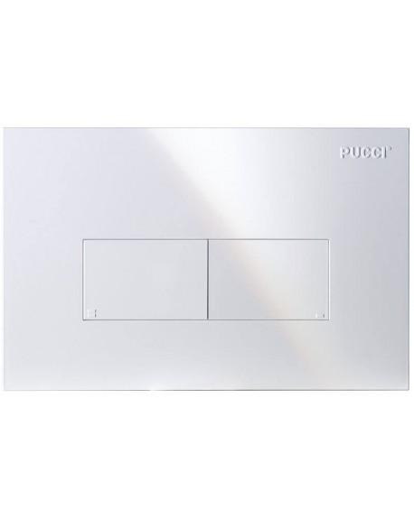 PLACCA DI COMANDO PUCCI modello: ECO 80000560 con 2 pulsanti di scarico per WC a pavimento BIANCA