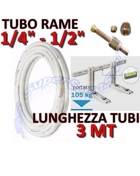 """Kit installazione climatizzatore mono - 3mt rame 1/4"""" + 1/2"""" - staffa"""