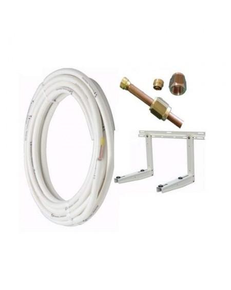 """Kit installazione climatizzatore mono - 2mt rame 1/4"""" + 1/2"""" - staffa"""