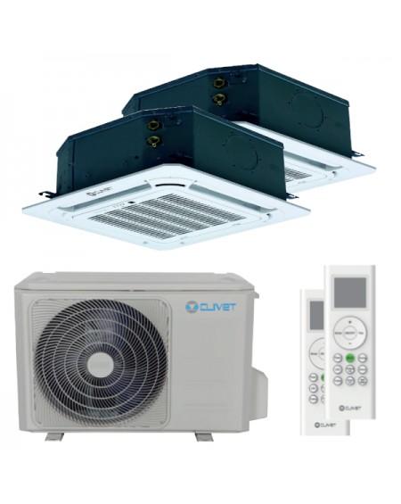 Condizionatore Clivet cassetta 4 vie mini dual split 18000+18000 BTU inverter A++ unità esterna tà esterna 8,0 kW